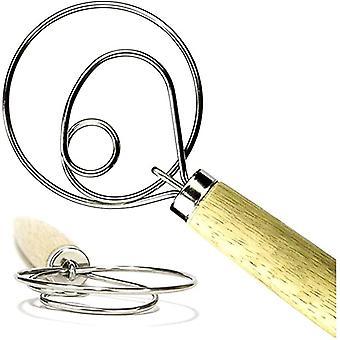 Dough Mixer Wooden Handle Self-adhesive Bag Packaging Single Eye Coil Manual Flour Mixer Manual Baking Tools Whisk