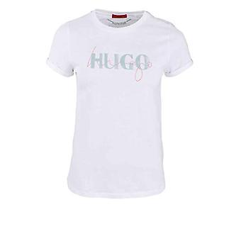 HUGO The Slim Tee 9 T-Shirt, White100, Medium Woman