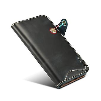 Genuine leather wallet case card slot for iphone xr6.1 blue on743