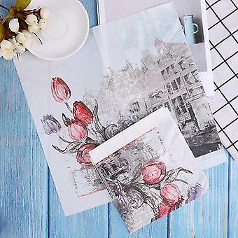 Raaka puu kukka kuvio Decoupage lautasliina paperikudos