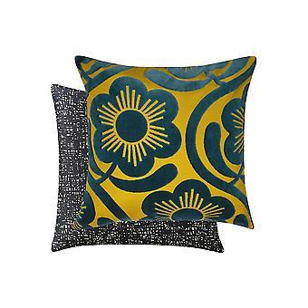 Apple Blossom Velvet Cushion In Dandelion Yellow & Whale Blue By Orla Kiely