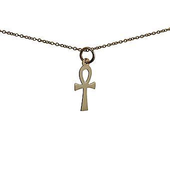 9ct goud 17x9mm vlakte Ankh of vrede kruis met een kabel ketting 20 inch