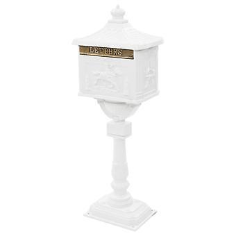 vidaXL Base Letterbox Alumiini Vintage Style Ruostumaton Valkoinen