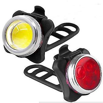 الأحمر + الأبيض USB دراجة قابلة لإعادة الشحن ركوب المصابيح الأمامية التحذير والمصابيح الخلفية az11449