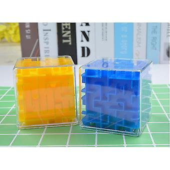 3d Maze Magic Speed Cube , Transparent Six Sided Puzzle, Rolling Ball Game(Blue)