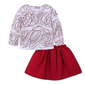 Family Clothing Long Sleeve Printed T-Shirt+Red Skirt&Shorts