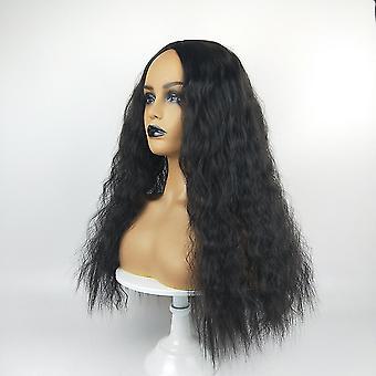 Modische lange lockige Perücke für Frauen (schwarz)