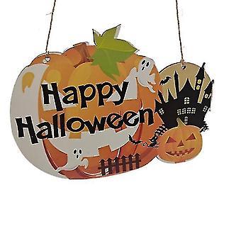 Halloween Kurpitsan oven roikkuva tervetuliaiskyltti - Hyvää Halloween-puista plakkilevyn sisustusta (väri2)