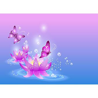 Tapeta Mural Magiczne Lilie i Motyl
