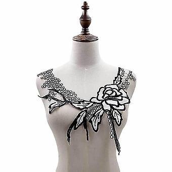 Blusa desmontable hueco tassel cuello falso encaje seda falso collar blanco y negro