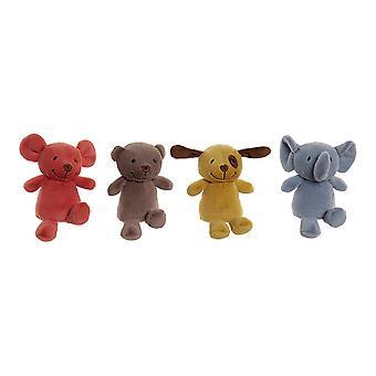 Fluffy toy DKD Home Decor Polyester animals (4 pcs) (15 x 12 x 15 cm)