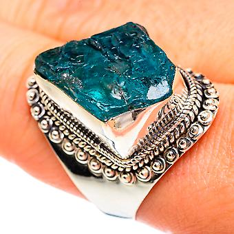 Large Rough Apatite Ring Size 10 (925 Sterling Silver)  - Handmade Boho Vintage Jewelry RING77333