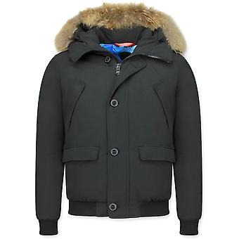 Winter coat Short - With Fur Collar - Black
