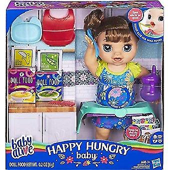 Bobblehead figures baby alive happy hungry baby doll brown straight hair