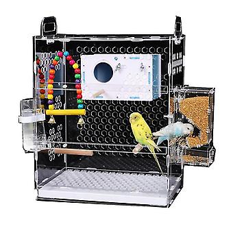 Bird toys bird cage acrylic transparent parrot acacia small breeding cage large anti flying|bird cages nests