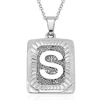 TJC Initial Alphabet S Halskette für Frauen in Edelstahl