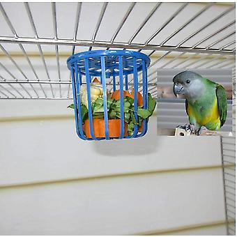 Cute Bird Cage Parrot Feeder Fruit Accessories Cage Vegetable Holder Hanging Basket Container Toys For Animals Birds