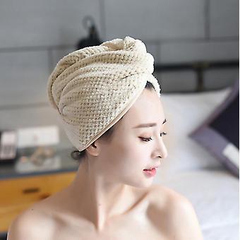 Badezimmer Korallenvlies Verdickte absorbierende trockene Haarkappe 2 Stück (beige)