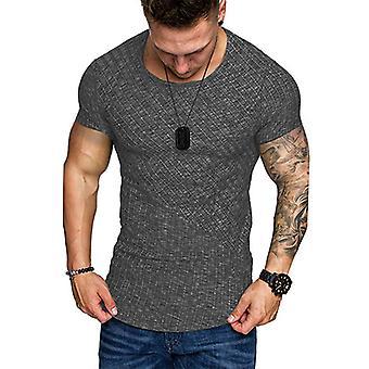Men Rib Crew Neck Short Sleeve Casual T-shirt  Pullover Tunic
