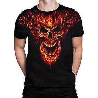 Vloeibare blauw-razende Inferno-korte mouw t-shirt.