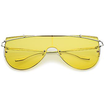 Futuristic Rimless Metal Crossbar Colored Mono Lens Shield Sunglasses 62mm