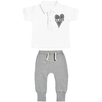 Spoilt Rotten Lil Bro Baby Polo T-Shirt & Baby Joggers Outfit Set