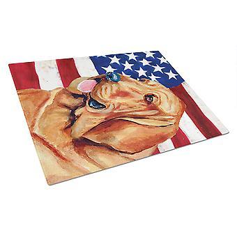 Carolines Treasures  LH9016LCB USA American Flag with Bloodhound Glass Cutting B