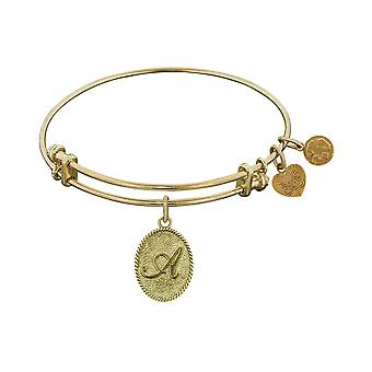 Yellow Brass Initial Letter Angelica Bangle Bracelet, 7.25
