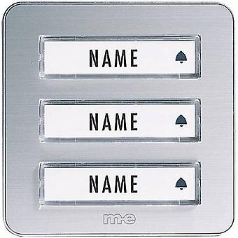 m-e modern-electronics KTA-3 A/S Bell panel incl. nameplate 3x Silver 12 V/1 A