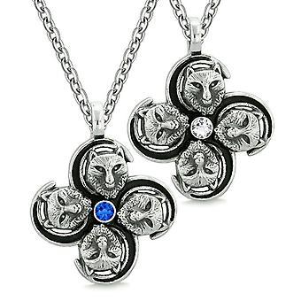 Supernatural Courage Wolf Amulets Love Couple Best Friends White Blue Crystals Pendant Necklaces