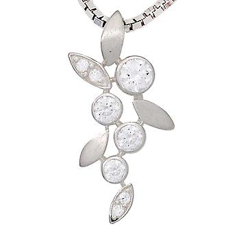 Rhodium plated sterling silver pendant charm 925 partly Matted with cubic zirconia