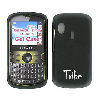 Alcatel One Touch Tribe OT-800A Silikon Gel Haut Hülle (schwarz)