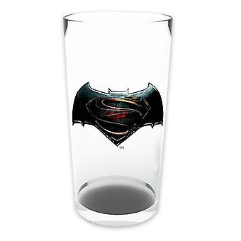 Batman vs Superman glass versus transparent, printed glass, in gift box.