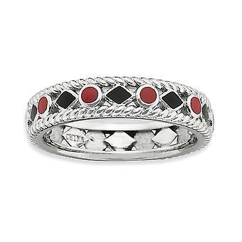 4.5mm 925 Sterling hopea rhodium kullattu pinottava ilmaisuja kiillotettu punainen musta emaloitu rengas korut lahjat naisille