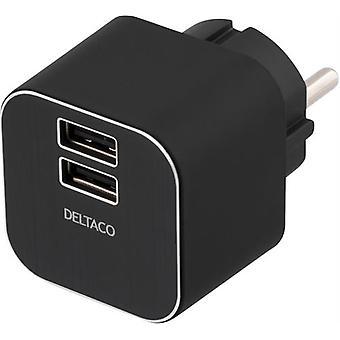 DELTACO încărcător de perete 230V la 5V USB, 3.1 A, 2xUSB porturi