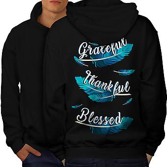 Feathers Grateful Men BlackHoodie Back | Wellcoda