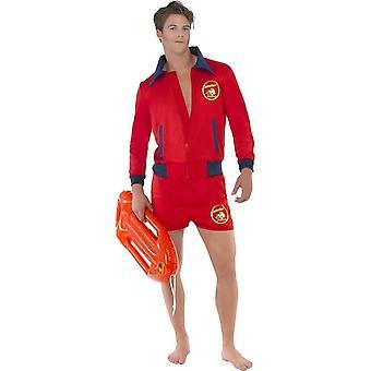 زي حرس Baywatch، الأحمر، مع أعلى & السراويل