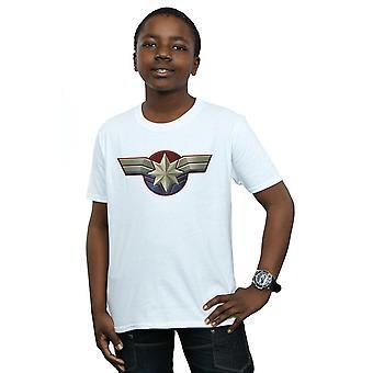 Marvel chłopców kapitan Marvel klatki piersiowej godło T-Shirt