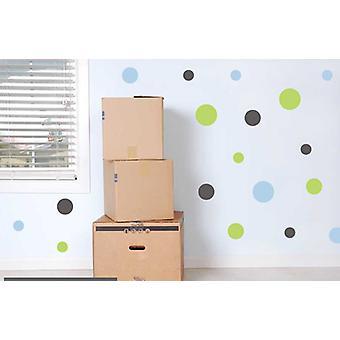 مجموعة الألوان الكاملة من ملصقات الحائط بقع زرقاء خضراء رمادية بولكا دوت 19