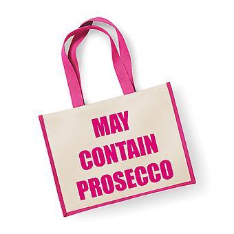 Velký růžový jutový sáček může obsahovat trestní co