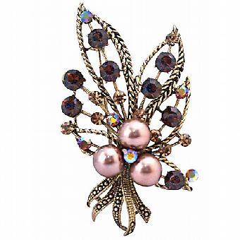 Topas-Kristallen Swarovski Bronze Perlen Bouquet Kleid Brosche geräuchert
