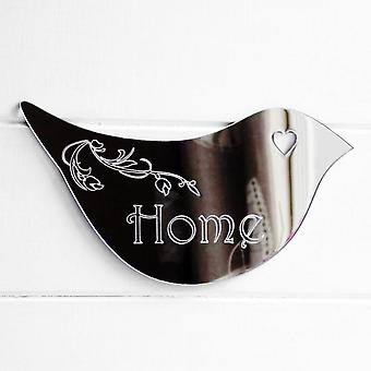 Floral Dove Acrylic Mirror Door or Wall Sign - HOME
