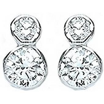 Bella Double Cubic Zirconia Rub Over Stud Earrings - Silver/White