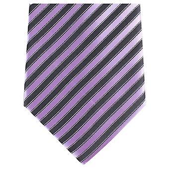 Knightsbridge Krawatten Diagonale Streifen regelmäßige Polyester Krawatte - schwarz/lila