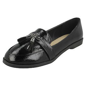 Ladies Spot On Tassel Trim Loafer Shoes F80418