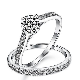 925 Sterling Silver Northwest Setting Pave Engagement And Band Ring Set