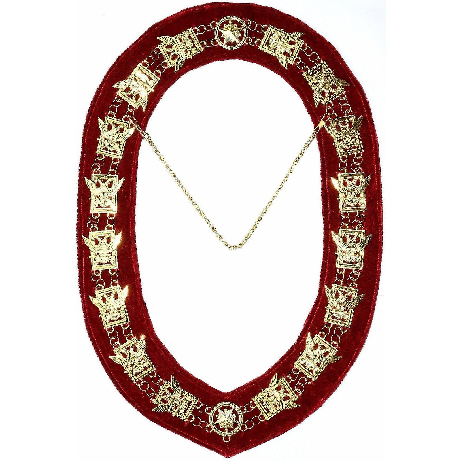 32nd Degree - Scottish Rite Wings UP Chain Collar - Gold/Silver on Red + Free Case