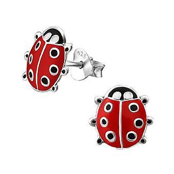 Children's Sterling Silver Red Ladybird Stud Earrings
