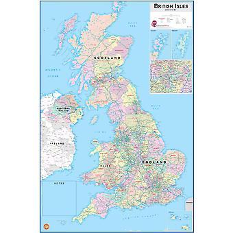 Wallpops laminerade brittiska öarna karta med Dry radera penna