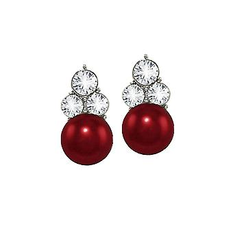 Eternal Collection Signature Burgundy Glass Pearl And Crystal Silver Tone Stud Clip On Earrings